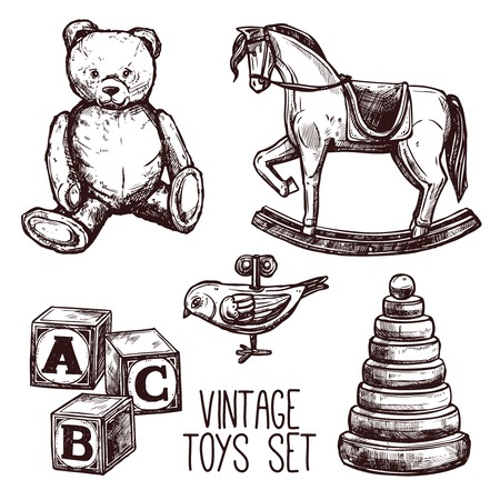Illustration pour Vintage toys set with sketch teddy bear rocking horse and pyramid isolated vector illustration - image libre de droit