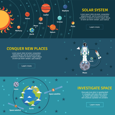 Illustration pour Solar system and space investigation flat horizontal banners set with sun planets  and spacecraft abstract vector illustration - image libre de droit