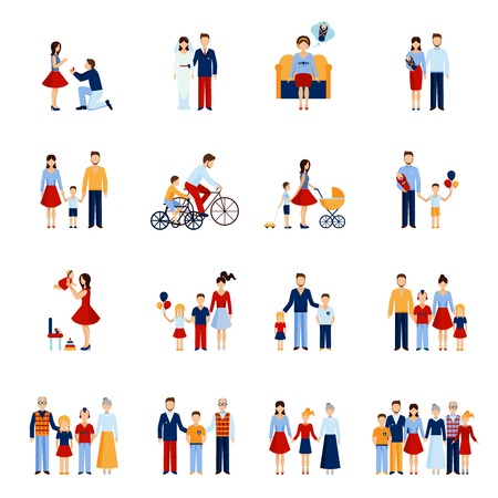Foto de Family icons set with parents kids and other people figures isolated vector illustration - Imagen libre de derechos