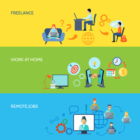 Illustration pour Freelance online work at home and remote jobs flat color banner set isolated vector illustration - image libre de droit