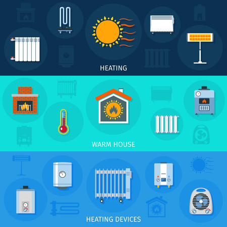 Illustration pour Warm house system and heating devices symbols color horizontal flat banner set isolated vector illustration - image libre de droit