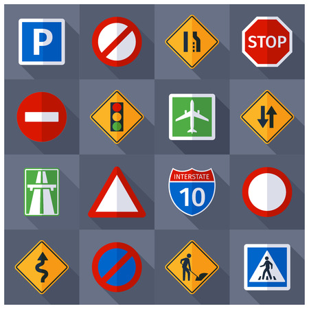 Illustration pour Basic road traffic warning regulatory prohibiting and informative signs flat  pictograms banner print abstract vector isolated  illustration - image libre de droit