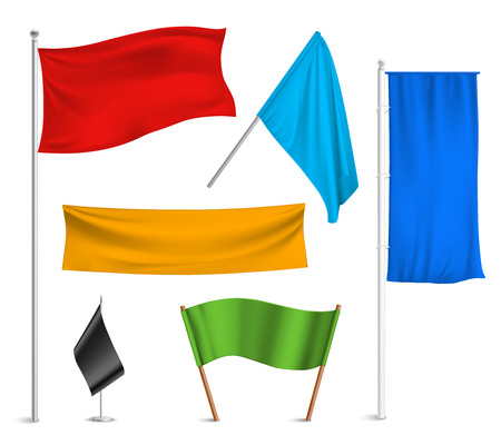 Ilustración de Various colors flags and banners pictograms collection with black racing and blue half-staff hoisted abstract vector illustration - Imagen libre de derechos