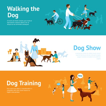 Illustration pour People with dogs banner set with walking and training elements isolated vector illustration - image libre de droit