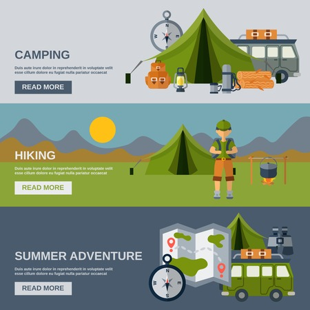 Illustration pour Camping horizontal banner set with hiking and summer adventure flat elements isolated vector illustration - image libre de droit
