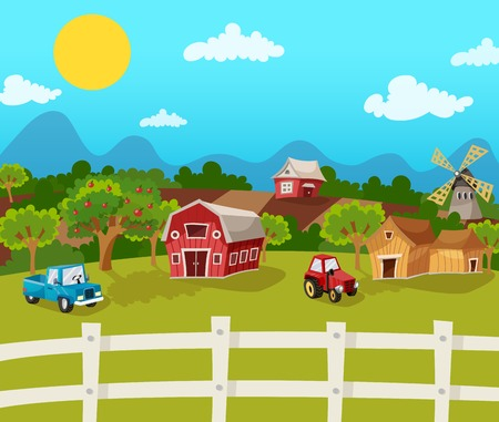 Photo for Farm cartoon background with apple garden in rural landscape vector illustration - Royalty Free Image