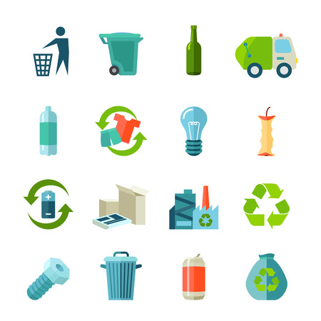 Illustrazione per Recycling icons set with waste types and collection flat isolated vector illustration - Immagini Royalty Free