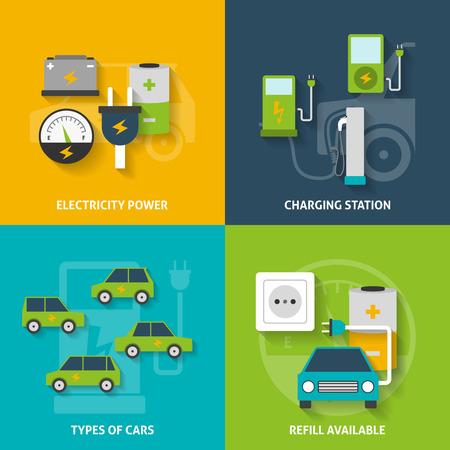 Photo pour Electric car charging station and electricity power flat color decorative icon set isolated vector illustration - image libre de droit