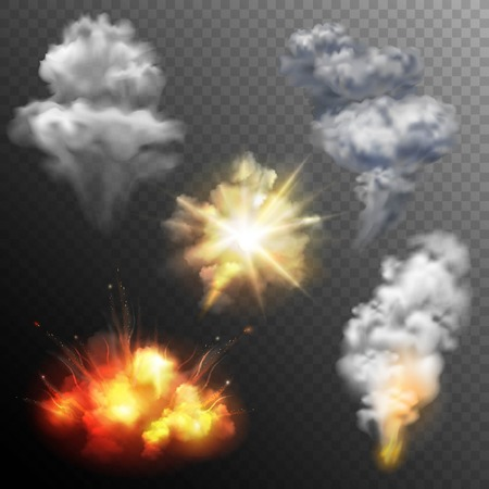 Illustration pour Variously shaped firework explosion patterns set of star cloud and mushroom images collection realistic isolated vector illustration - image libre de droit