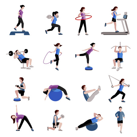 Ilustración de Fitness cardio exercise and equipment for men women two tints flat icons collections abstract isolated vector illustration - Imagen libre de derechos
