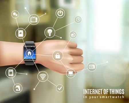Illustration pour Internet of things in smart wrist multimedia watch gadget on hand realistic color concept vector illustration - image libre de droit