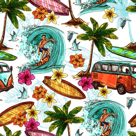 Illustration pour Surf seamless pattern with sketch surfer and tropical beach elements vector illustration - image libre de droit