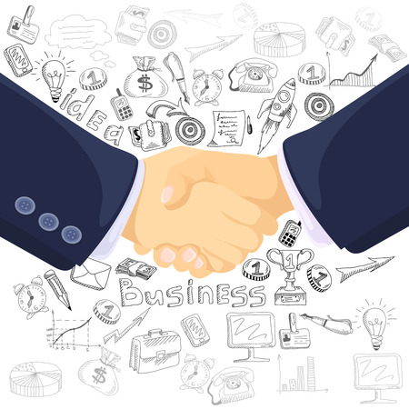 Successful business teamwork partnership concept black outlined icons composition with  prominent foreground handshake symbol abstract vector illustration