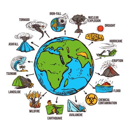 Illustration pour Natural disasters infographics set with sketch globe and catastrophe symbols vector illustration - image libre de droit