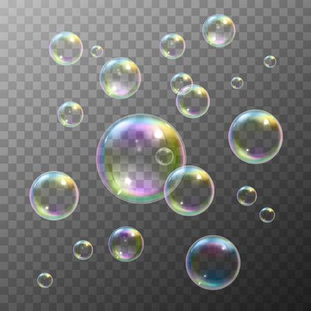 Illustration pour Realistic soap bubbles with rainbow reflection set isolated vector illustration - image libre de droit