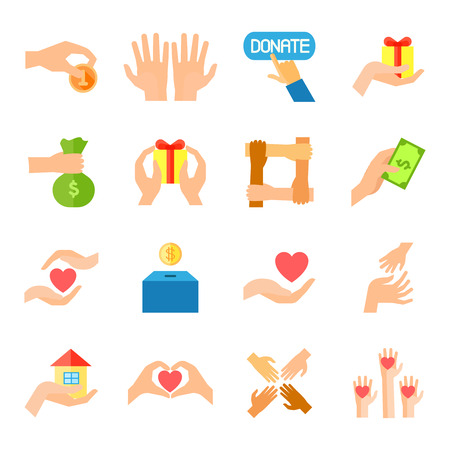 Illustration for Donate given or charity and assistance help or aid flat color icon set isolated vector illustration - Royalty Free Image
