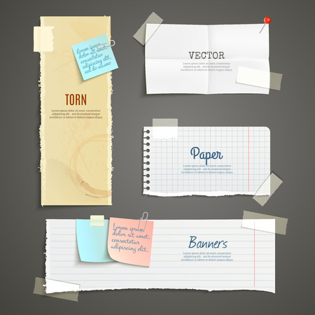 Illustration pour Torn paper lined plaid white yellow clear and folded vertical and horizontal banner set isolated vector illustration - image libre de droit