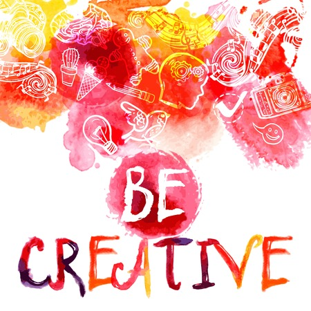 Foto de Creativity watercolor concept with be creative lettering and art and logic symbols set vector illustration - Imagen libre de derechos
