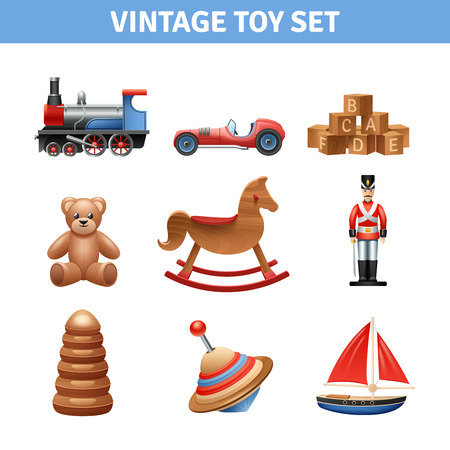 Illustration pour Vintage toy realistic icons set with teddy bear ship and soldier isolated vector illustration - image libre de droit