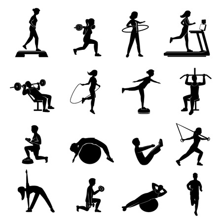 Ilustración de Fitness cardio workout and body shaping exercise with aerobic equipment black icons set abstract isolated vector illustration - Imagen libre de derechos