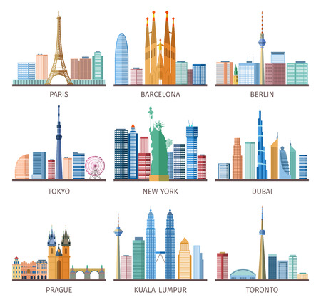 Ilustración de Cities skylines icons set around the world with Eiffel tower and Statue of Liberty flat isolated vector illustration - Imagen libre de derechos