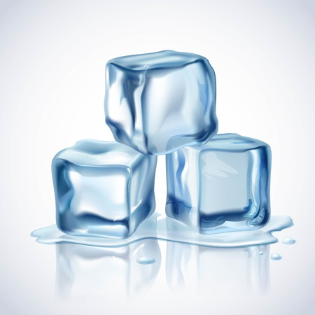 Realistic blue ice cubes with water drops on white background vector illustration