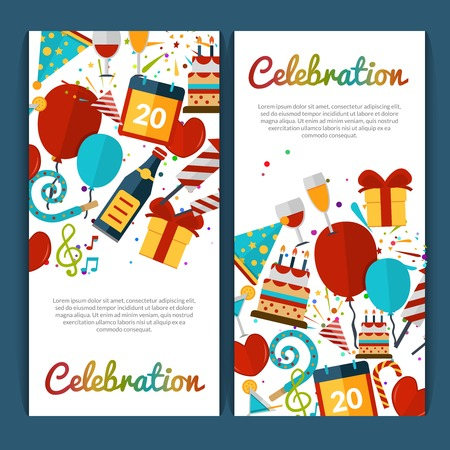 Illustration for Celebration vertical banners set with party symbols isolated vector illustration - Royalty Free Image