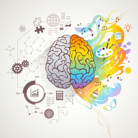 Illustration pour Left and right brain concept with colors music and science flat vector illustration - image libre de droit