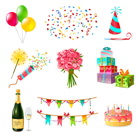Illustration pour Celebration icons set with cake balloons champagne bouquet confetti and present boxes firecrackers garland whistle party hat isolated vector illustration - image libre de droit