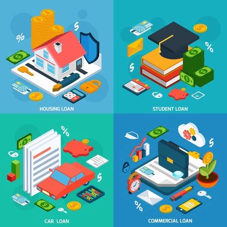 Ilustración de Loans design concept set with housing student and car investment isometric icons isolated vector illustration - Imagen libre de derechos