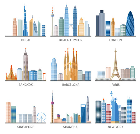 Foto de Famous capitals and cities characteristic downtown business center edifice buildings silhouettes day skyline abstract isolated vector illustration - Imagen libre de derechos