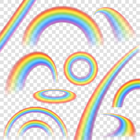 Illustration for Rainbows in different shape realistic set on transparent background isolated vector illustration - Royalty Free Image