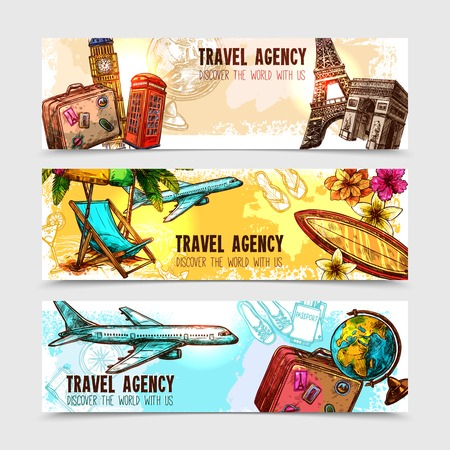 Illustration pour Travel horizontal banner set with sketch landmarks and vacation elements isolated vector illustration - image libre de droit