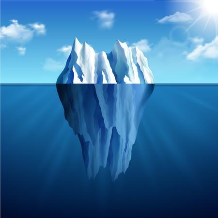 Photo for Polar landscape with iceberg on blue sunny background vector illustration - Royalty Free Image