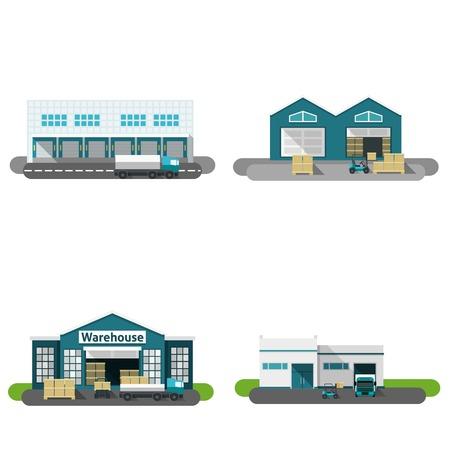 Ilustración de Warehouse building flat icons set with transportation vehicles isolated vector illustration - Imagen libre de derechos