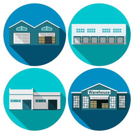 Photo for Warehouse building flat long shadow icons set isolated vector illustration - Royalty Free Image