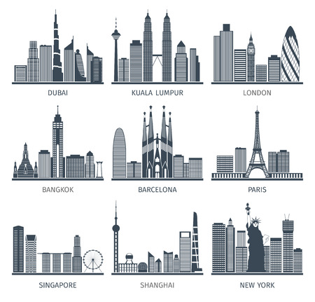 Illustration pour World famous capitals cities characteristic downtown business center edifice buildings silhouettes skyline  black abstract isolated vector illustration - image libre de droit
