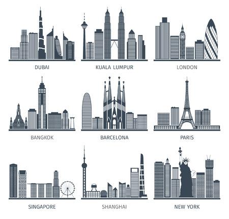 Foto de World famous capitals cities characteristic downtown business center edifice buildings silhouettes skyline  black abstract isolated vector illustration - Imagen libre de derechos