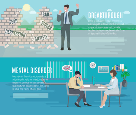 Foto de Mental health anxiety disorder breakthrough with psychiatrist counseling 2 flat horizontal banners set abstract isolated vector illustration - Imagen libre de derechos