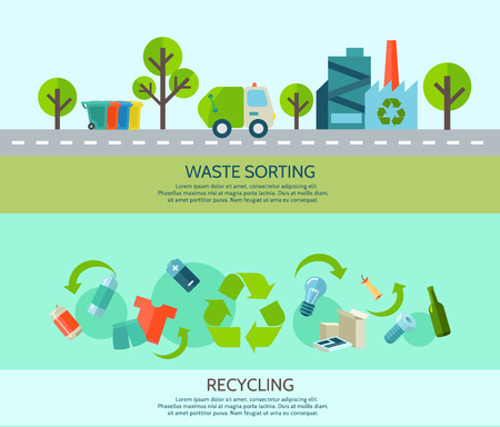 Ilustración de Waste sorting and recycling horizontal banners set with materials and factory flat isolated vector illustration - Imagen libre de derechos