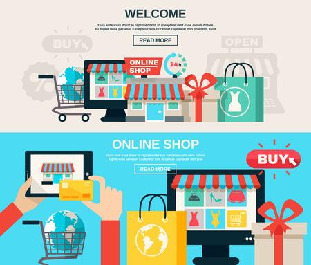 Illustration pour Welcome online shop or web market and buy online flat color horizontal banner set isolated vector illustration - image libre de droit