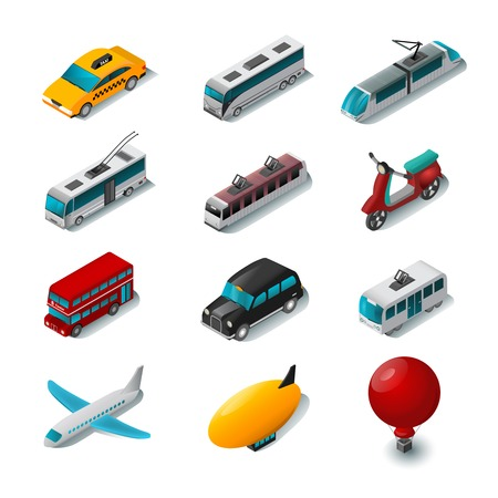 Illustration pour Public transport isometric icons set with cartoon scooter tram and taxi car isolated vector illustration - image libre de droit