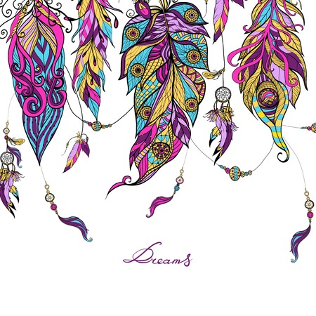 Illustration pour Ethnic dreamcatcher feathers with sketch abstract colored ornament vector illustration - image libre de droit