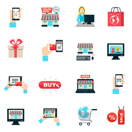 Illustration pour Internet shopping online store and delivery service symbols flat color icon set isolated vector illustration - image libre de droit