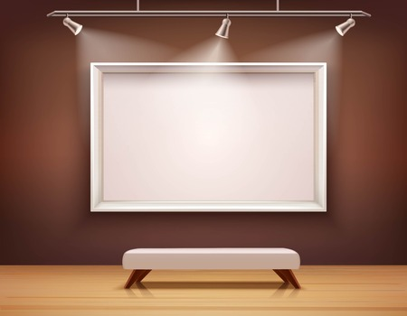 Illustration pour Art gallery interior with white picture frame and bench vector illustration - image libre de droit