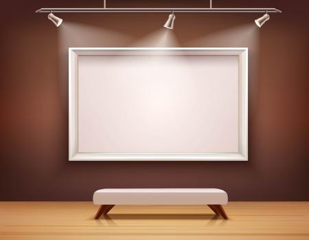 Ilustración de Art gallery interior with white picture frame and bench vector illustration - Imagen libre de derechos