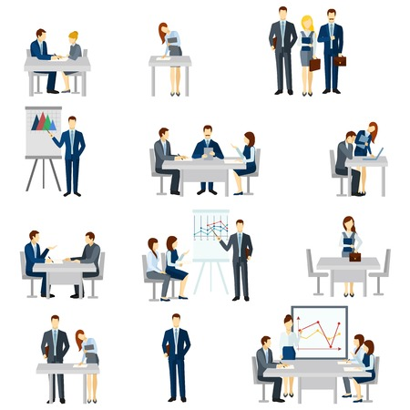 Illustration for Business coaching icons set with discussion diagrams and team flat isolated vector illustration - Royalty Free Image