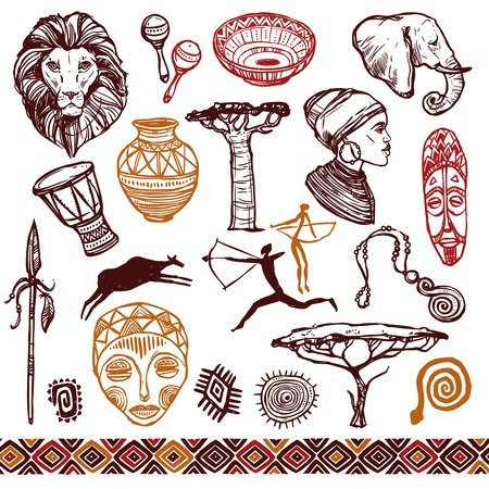 Illustration for Africa doodle icons set with lion mask drums isolated vector illustration - Royalty Free Image