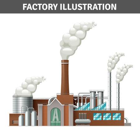 Illustration pour Realistic factory building illustration with steam and cooling system vector illustration - image libre de droit