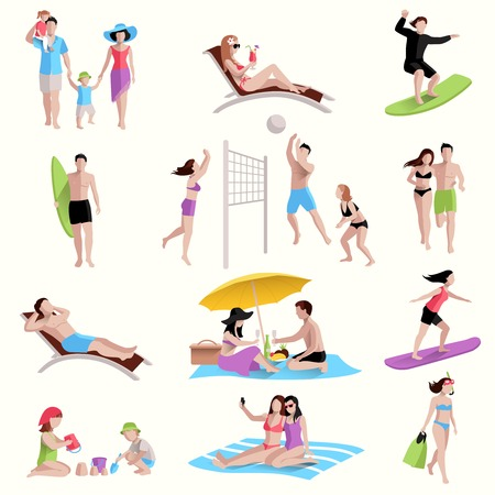 Illustration pour People on beach playing jogging surfing icons set isolated vector illustration - image libre de droit